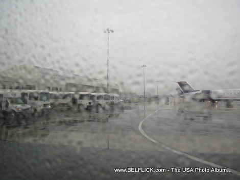 A rainy day at Washington Dulles International Airport