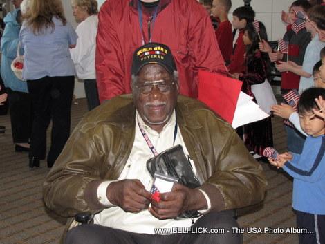 An African-American World War II Veteran In Washington DC to visit the Memorial.