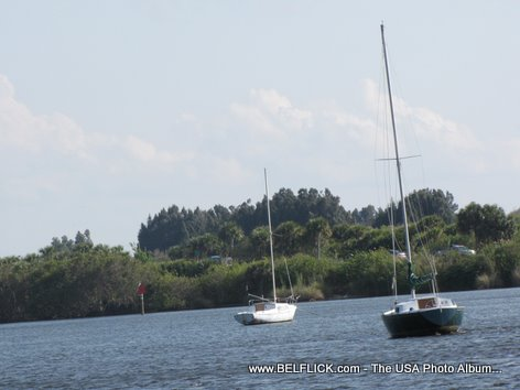 Boats On The Indian River, Castaway Point Park, Palm Bay Florida
